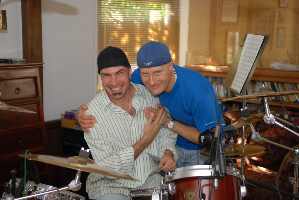 With Gregg Bissonette in a living room session... old times...